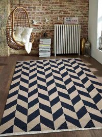 Hand Woven Flat Weave Kilim Woolen Area Rug Contemporary Blue White