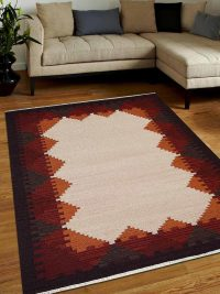 Hand Woven Flat Weave Kilim Woolen Area Rug Contemporary White Plum