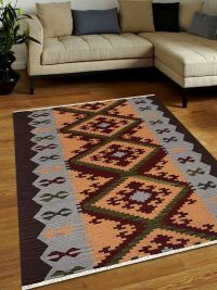 Hand Woven Flat Weave Kilim Woolen Area Rug Contemporary Multi