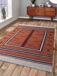 Hand Woven Flat Weave Kilim Woolen Area Rug Contemporary Orange Blue