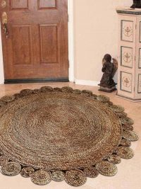 Hand Woven Jute Contemporary Eco-Friendly Round Area Rug Natural