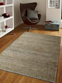 Hand Knotted Sumak Jute Solid Eco-Friendly Area Rug Natural
