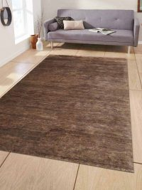 Hand Knotted Jute Eco-Friendly Natural Area Rug Solid Brown