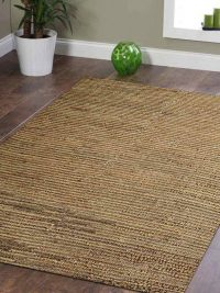 Hand Woven Jute Eco-Friendly Natural Area Rug Solid Beige