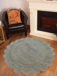 Hand Woven Jute Eco-Friendly Natural Round Rug Solid White
