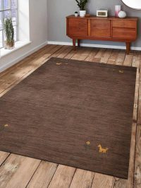 Hand Knotted Loom Woolen Area Rug Solid Brown