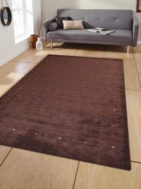Hand Knotted Loom Woolen Area Rug Contemporary Brown