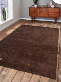 Hand Knotted Loom Wool Area Rug Contemporary Brown