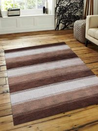 Hand Knotted Loom Wool Area Rug Contemporary Brown Beige