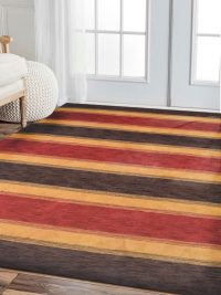 Hand Knotted Loom Wool Area Rug Contemporary Brown Gold