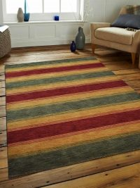 Hand Knotted Loom Wool Area Rug Contemporary Green Gold