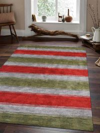 Hand Knotted Loom Wool Area Rug Contemporary Green Blue