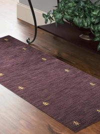 Hand Knotted Loom Woolen Runner Rug Solid Brown