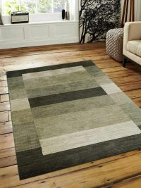 Hand Knotted Loom Woolen Area Rug Solid Multi