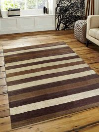 Hand Knotted Loom Wool Area Rug Striped Multi