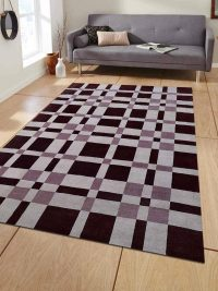 Hand Knotted Loom Wool Area Rug Geometric Brown Beige