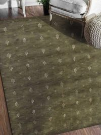 Hand Knotted Loom Wool Area Rug Contemporary Green White