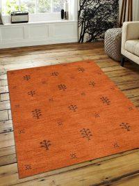Hand Knotted Loom Woolen Area Rug Solid Orange Brown