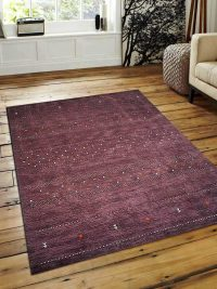 Hand Knotted Loom Woolen Area Rug Solid Plum