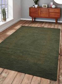 Hand Knotted Loom Woolen Area Rug Solid Green
