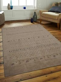 Hand Knotted Loom Wool Area Rug Contemporary Beige