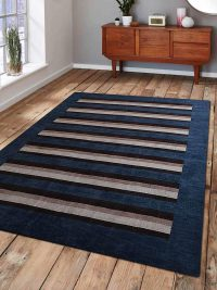 Hand Knotted Loom Wool Area Rug Contemporary Blue Brown