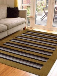 Hand Knotted Loom Wool Area Rug Contemporary Gold Brown