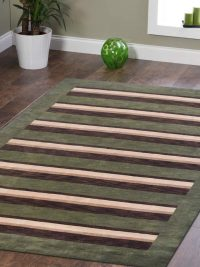 Hand Knotted Loom Wool Area Rug Contemporary Green Brown