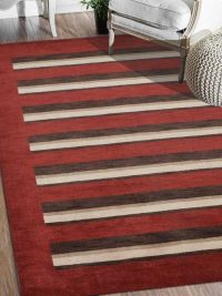 Hand Knotted Loom Wool Area Rug Contemporary Red Brown