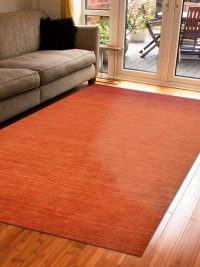 Hand Knotted Loom Wool Area Rug Contemporary Rust