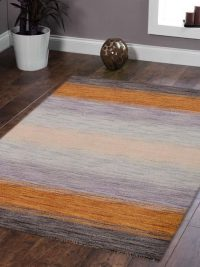 Hand Knotted Loom Woolen Area Rug Solid Brown Gold