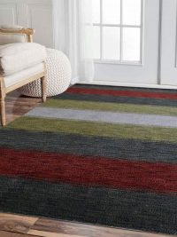 Hand Knotted Loom Wool Area Rug Contemporary Multicolor