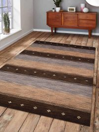 Hand Knotted Loom Woolen Area Rug Solid Brown Beige