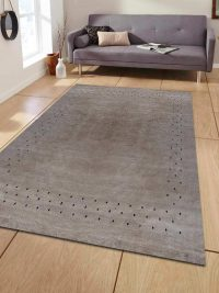 Hand Knotted Loom Woolen Area Rug Solid Beige