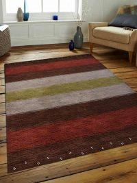 Hand Knotted Loom Wool Area Rug Contemporary Brown Silver