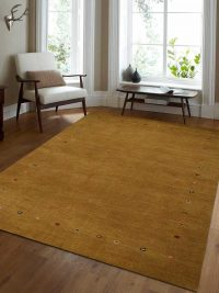 Hand Knotted Loom Woolen Area Rug Solid Gold