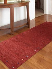 Hand Knotted Loom Wool Area Rug Contemporary Red