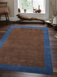 Hand Knotted Loom Wool Area Rug Contemporary Brown Blue