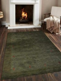 Hand Knotted Loom Woolen Area Rug Solid Olive