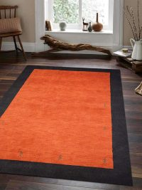 Hand Knotted Loom Woolen Area Rug Solid Orange Black