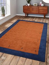Hand Knotted Loom Woolen Area Rug Solid Orange Blue