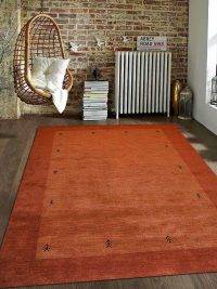 Hand Knotted Loom Wool Area Rug Contemporary Orange