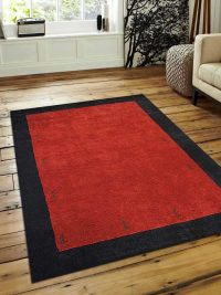 Hand Knotted Loom Woolen Area Rug Solid Red Black