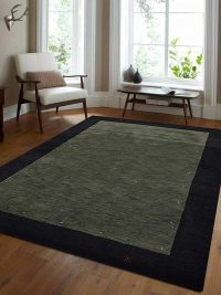 Hand Knotted Loom Wool Area Rug Contemporary Green Black