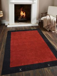 Hand Knotted Loom Wool Area Rug Contemporary Red Black