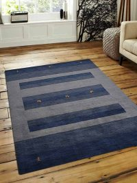 Hand Knotted Loom Wool Area Rug Contemporary Blue Light Blue