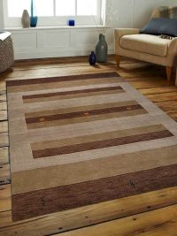 Hand Knotted Loom Wool Area Rug Contemporary Brown Light Beige