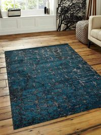 Machine Woven Polypropylene Area Rug Turkish Contemporary Silver Blue