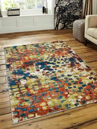 Machine Woven Polypropylene Area Rug Turkish Contemporary Caramel Blue