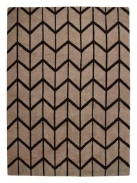 Hand Knotted Wool Area Rug Geometric Beige Brown